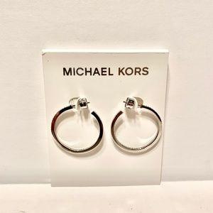 Michael Kors Silvertone Small Hoop Earrings